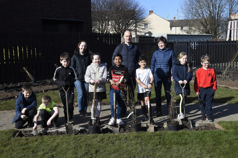 Local School Children Help to Plant Trees at the Pennywell Nature Garden